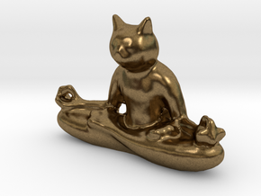 Meditating Cat in Natural Bronze: Medium