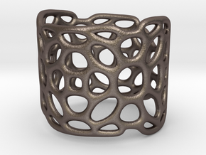 LATTICE_ring_0423R in Polished Bronzed Silver Steel