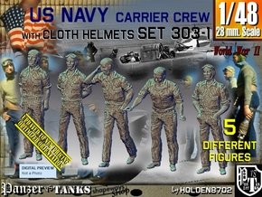 1/48 USN Carrier Deck Crew Set303-1 in Smooth Fine Detail Plastic