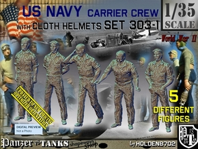 1/35 USN Carrier Deck Crew Set303-1 in Smooth Fine Detail Plastic