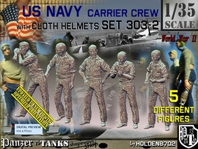 1/35 USN Carrier Deck Crew Set303-2 in Smooth Fine Detail Plastic