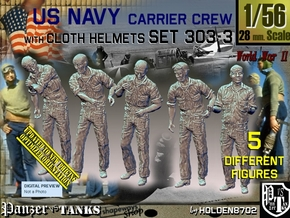 1/56 USN Carrier Deck Crew Set303-3 in Smooth Fine Detail Plastic