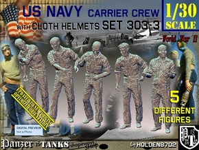 1/30 USN Carrier Deck Crew Set303-3 in White Natural Versatile Plastic