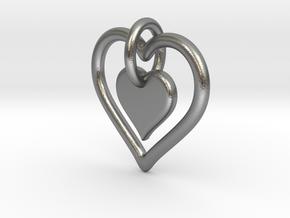 Interlocking heart - custom initial in Natural Silver (Interlocking Parts)