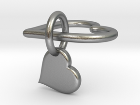 Interlocking heart v2 - custom initial in Natural Silver (Interlocking Parts)