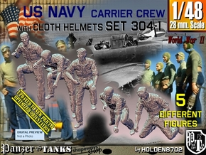 1/48 USN Carrier Deck Crew Set304-1 in Smooth Fine Detail Plastic