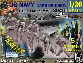 1/30 USN Carrier Deck Crew Set304-1 in White Natural Versatile Plastic