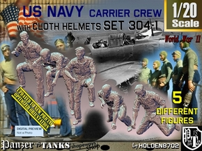 1/20 USN Carrier Deck Crew Set304-1 in White Natural Versatile Plastic
