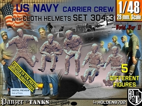 1/48 USN Carrier Deck Crew Set304-3 in Smooth Fine Detail Plastic