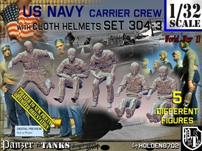 1-32 USN Carrier Deck Crew Set304-3 in Smooth Fine Detail Plastic
