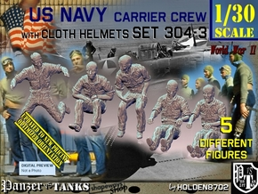 1/30 USN Carrier Deck Crew Set304-3 in White Natural Versatile Plastic
