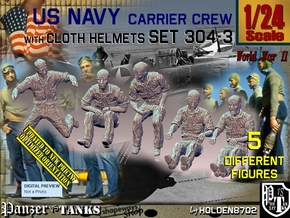 1/24 USN Carrier Deck Crew Set304-3 in White Natural Versatile Plastic