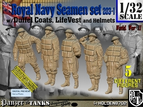 1/32 Royal Navy D-Coat+Lifevst Set203-1 in White Natural Versatile Plastic