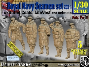 1/30 Royal Navy D-Coat+Lifevst Set203-1 in White Natural Versatile Plastic