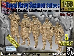 1/56 Royal Navy D-Coat+Lifevst Set203-2 in Smooth Fine Detail Plastic