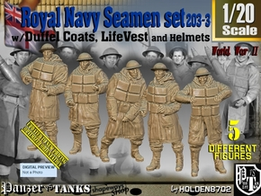 1/20 Royal Navy D-Coat+Lifevst Set203-3 in White Natural Versatile Plastic