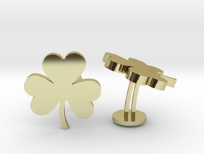 Shamrock 3 Leaf Clover Lucky Wedding Cufflinks in 18k Gold Plated Brass
