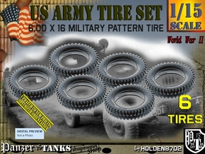 1/15 Tire 600x16 Six Units Set in Smooth Fine Detail Plastic