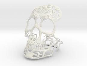 Skull sculpture Tribal Sugar 150mm in White Natural Versatile Plastic