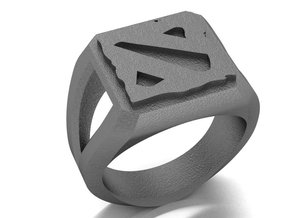 DOTA II Signet Ring in Polished Bronzed Silver Steel: 9 / 59