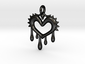 Bleeding Heart Pendant in Matte Black Steel