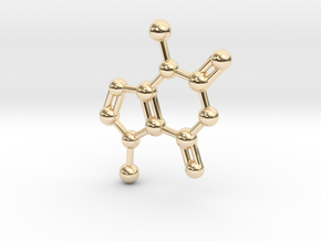 Theobromine Molecule Necklace Keychain BIG in 14k Gold Plated Brass