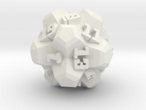 Brutalist Dice Set — Version 2 Singles in White Natural Versatile Plastic: d20