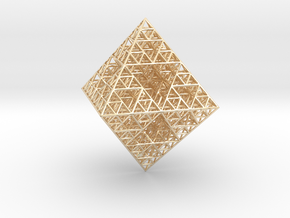 Wire Sierpinski Octahedron in 14k Gold Plated Brass