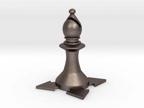 Instructional Chess Set - Bishop in Polished Bronzed Silver Steel: Large