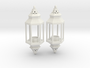Hanging Lantern Earrings in White Natural Versatile Plastic