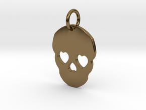 Cute Skull in Polished Bronze