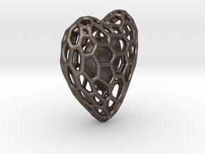 Voronoi Double Heart Pendant in Polished Bronzed Silver Steel: Small