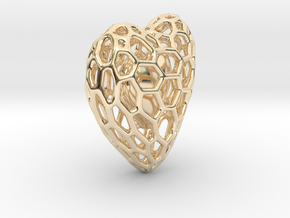 Voronoi Double Heart Pendant in 14k Gold Plated Brass: Small