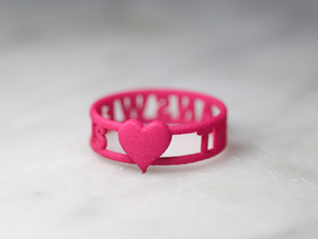 The Answer Is w/ Heart Charm, Pink Nylon Plastic in Pink Processed Versatile Plastic: 9.5 / 60.25