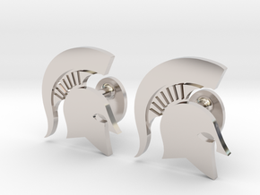 MSU Spartan Cufflinks, Customizable in Rhodium Plated Brass