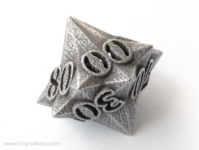 Faceted - 10D10, ten sided gaming dice, D% decader in Polished Bronzed Silver Steel