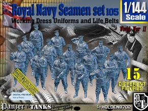 1/144 Royal Navy Seamen Set105 in Smooth Fine Detail Plastic