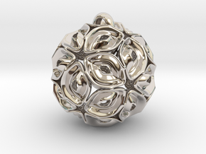 View of spherical games - part three. Pendant in Rhodium Plated Brass