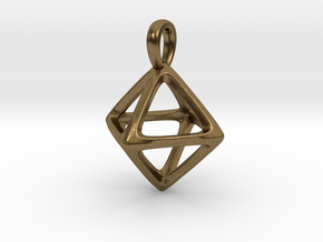 Octahedron Platonic Solid Pendant in Natural Bronze