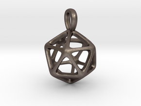 Icosahedron Platonic Solid Pendant in Polished Bronzed Silver Steel