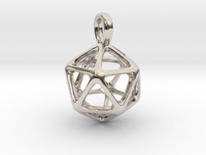 Icosahedron Platonic Solid Pendant in Platinum