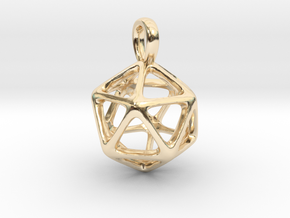 Icosahedron Platonic Solid Pendant in 14k Gold Plated Brass