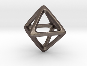 Octahedron Platonic Solid in Polished Bronzed Silver Steel