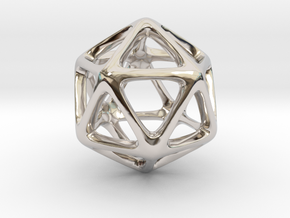 Icosahedron Platonic Solid  in Rhodium Plated Brass