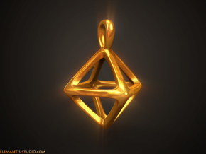 Octahedron Platonic Solid Pendant in Natural Brass