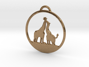 Giraffes Kissing Necklace in Natural Brass