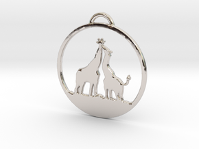 Giraffes Kissing Necklace in Rhodium Plated Brass