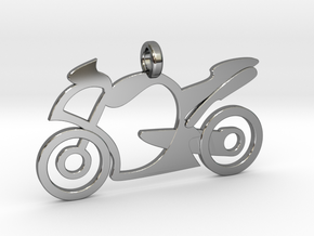 Motorcycle racing in Fine Detail Polished Silver