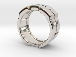 Power icon Ring in Rhodium Plated Brass: 8 / 56.75