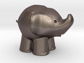 Cute Elephant in Polished Bronzed Silver Steel: Extra Small
